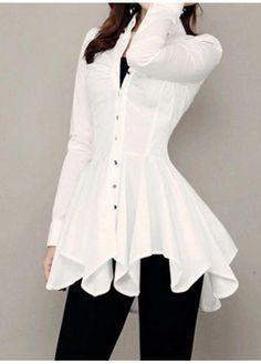 Button Up White Long Sleeve Asymmetric Blouse Stylish Dresses, Fashion Dresses, Mode Chic, Denim Fashion, Fashion Sale, Diy Dress, Trendy Tops, Mode Inspiration, Dress Patterns