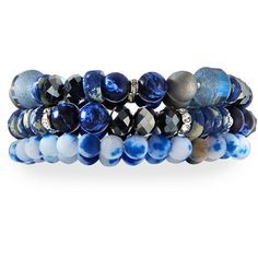 Lydell Nyc Triple-Strand Beaded Bracelet ($41) ❤ liked on Polyvore featuring jewelry, bracelets, blue bangles, magnetic jewelry, shiny charm, bead charms and magnetic bead jewelry