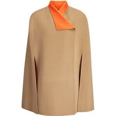 Joseph Double Face Cashmere Lina Coat in CAMEL/TANGERINE ($1,195) ❤ liked on Polyvore featuring outerwear, coats, camel cape, wool cashmere coat, reversible cape, double breasted cape and cashmere coat