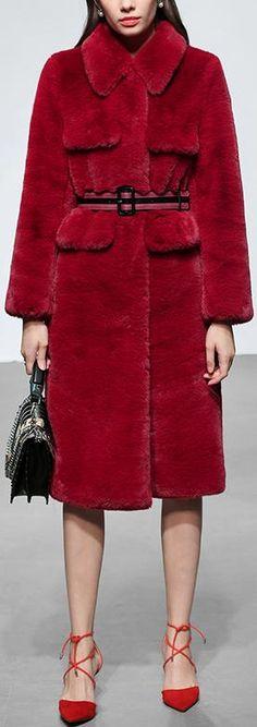 Belted Faux-Fur Coat, Raspberry Red Red Faux Fur Coat, Long Black Blazer, Cute Coats, Women's Coats, Coats For Women, Clothes For Women, Stylish Coat, Casual Street Style, Winter Coat