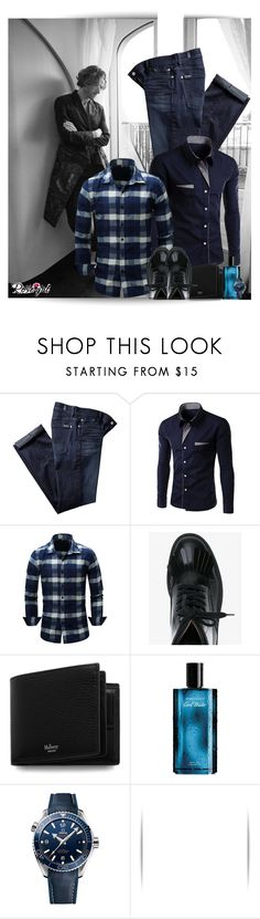 """""""How to style a Rosegal men plaid shirt?"""" by lurve-music ❤ liked on Polyvore featuring 7 For All Mankind, Dries Van Noten, Mulberry, Davidoff, OMEGA, men's fashion and menswear"""