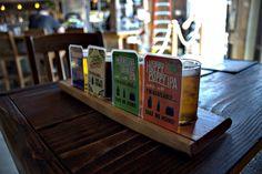 A beer taster set at Figueroa Mountain Brewing - Santa Barbara.  Read more at: http://hoppedla.com/figueroa-mountain-brewing-co-santa-barbara/