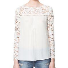 $13.13 Stylish Jewel Neck Lace Splicing Long Sleeve Chiffon Blouse For Women