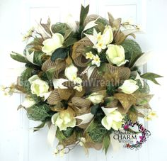 Custom #magnolia #wreath with faux #burlap mesh by www.southerncharmwreaths.com