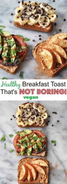 Simple healthy vegan breakfast toast that isn't boring Simple, easy, healthy, and vegan toast that's delicious! Make it for breakfast, Healthy Desayunos, Healthy Vegan Breakfast, Healthy Snacks, Healthy Breakfasts, Healthy Morning Breakfast, Easy Vegan Lunch, Healthy Breads, Easy Snacks, Healthy Baking