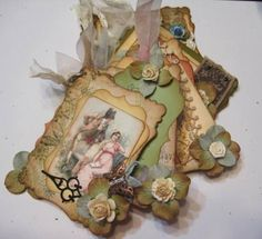 Mkae a similair mini album with one of my deluxe kits :) Shabby Chic DELUXe MEDIUM Victorian mini chipboard kit CM309 by shabbybeautiful on Zibbet