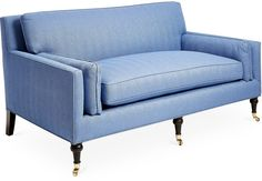 Exclusive to One Kings Lane: This classic settee is built with a sturdy alder frame, herringbone upholstery, and a cushy foam fill that ensures long-lasting comfort. Its cool azure hue is luxe and versatile, pairing beautifully with the rich espresso finish of the exposed turned legs. Gleaming casters finish the look and allow for easy mobility while protecting sensitive floors. Handcrafted in the USA. Furniture > Sofas > Settees.