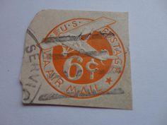 6 cents VIA Air Mail U.S. Postage Stamp.