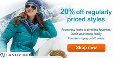 Lands' End 20% off regular priced styles.  #landsend #clothes #accessories #sales #discounts