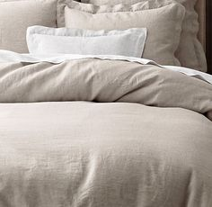 Vintage-Washed Belgian Linen Bedding Collection.  Love the look of linen. #BedLinens