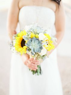 Photo via Project Wedding FLOWERS--Sunflowers & Succulents