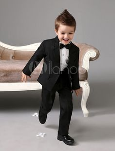 16847cb2bc37 Classic Design Black Polyester Kid's Ring Bearer Suits #Black, #Polyester,  #Classic