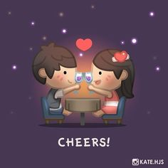 Cheers! Here's a sneak preview of a new sticker set coming for Line messenger and Between,etc soon! #hjstory #love #linestickers #cheers