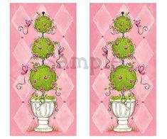 Pink Topiary Children's Wall Art 10x20 Girls by WallFlowerArtShop, $34.00