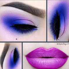 Gorgeous pink lipstick paired with a bright purple eyeshadow look by @depechegurl: http://blog.furlesscosmetics.com/depeche-gurl/