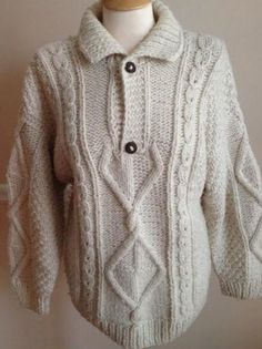100% wool fisherman sweater mens MEDIUM Artesanias cable cream hand made Ecuador #Artesanias #collared