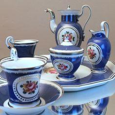 Biedermeier um 1920: Dejeuner von Nymphenburg Mokkaservice Tete-a-tete Overlay, blue, silver, flowers, demi tasse, moccha set on tray