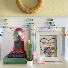 Fun rainbow entryway, lots of fun colors! Look at the gumball machine, they