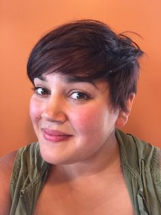 Short hair on a plus size woman. Absolutely gorgeous!