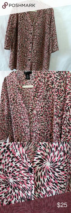 Maggie Barnes pink and black spot blouse shirt Maggie Barnes button up blouse. Shirt has a solid white background with pink and black spot. Also has a shiny metallic thread going throughout to give it a hint of shine. Sheer. 1x or 18/20. 100% polyester. Good condition. Smoke free home.   ** 10% off bundle- 2 or more items ** Maggie Barnes  Tops
