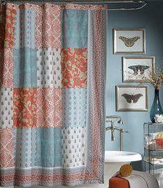 Jessica Simpson Indian Sunrise Bohemian Patchwork Shower Curtain
