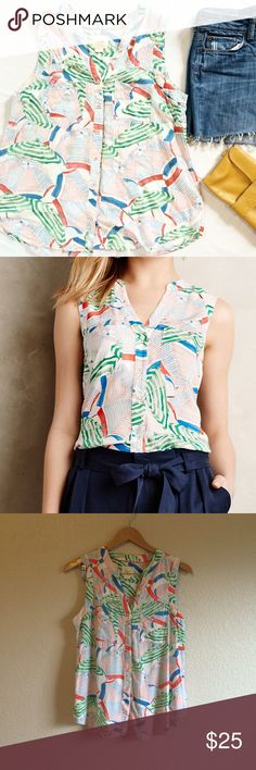 Anthropologie • Top This colorful button down blouse is full of summer vibes. Maeve for Anthropologie. Anthropologie Tops Tank Tops
