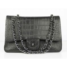 2012 Chanel 2.55 Classic Bags 1112 Black Crocodile Pattern
