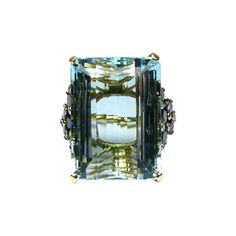 Aquamarine, Diamond and Sapphire Cocktail Ring   From a unique collection of vintage cocktail rings at https://www.1stdibs.com/jewelry/rings/cocktail-rings/