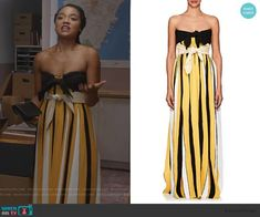Accordion-Pleated Crepe Strapless Gown by Derek Lam worn by Kat Edison (Aisha Dee) on The Bold Type Indian Lehenga, Strapless Gown, Vintage Wardrobe, Other Outfits, Bold Fashion, Yellow Stripes, Derek Lam, Gowns, Fashion Outfits