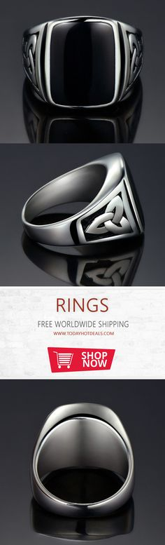 -= Titanium Steel Big Black Stone Square Ring =- Metals Type: Titanium steel. || Style: Punk, Vintage, Fashion. || Shape\pattern: Square. || Color: as pic. || Packing Including: 1 piece ring + 1 Gift box.