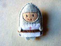 Knight felt brooch fairy tale character Saint George by ovejitabe