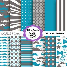70% OFF SALE Little Man Digital Paper Pack, Scrapbook Papers, 12 jpg files 12 x 12 - Instant Download - D99