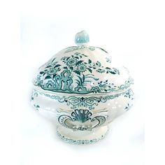 Blue White Soup Tureen with Lid Sarreguemines Moscou Antique