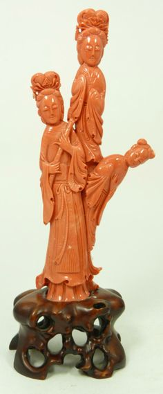 Porcelain Guan Yin Figure | Chinese hand carved red coral group sculpture depicting three Guan Yin ...