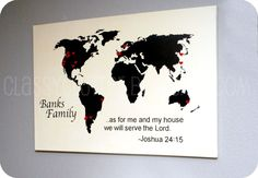 This blog shows how to make a world map on a board from Home Depot. They used theirs to show where each member of their family had done a mission trip. Sooo cool!