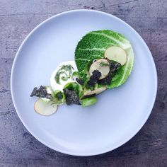 Cabbage, Kale, salted oat cream, dill and spinach whip, raw pickled potatoes, spruce salt by Adelasterfoodtextures on IG #plating #gastronomy