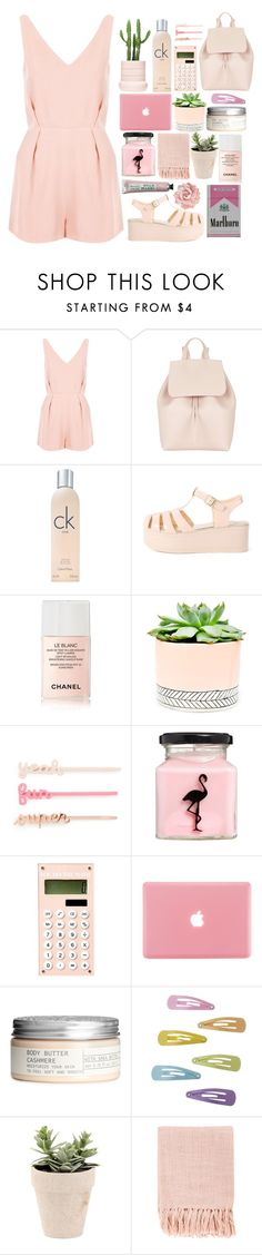 """""""Every Sunday!"""" by juliateodora ❤ liked on Polyvore featuring Topshop, Mansur Gavriel, Calvin Klein, Chanel, Hostess, ban.do, Flamingo Candles, H&M and Surya"""