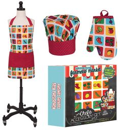 Little Chefs will love to wear this Handstand Kids Farmers Market  3-piece Apron Set while cooking up something tasty.  Includes Chefs hat, oven mitt and apron in a fun garden design.