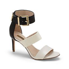 """GOSIA-The Gosia by Louise et Cie: the preferred choice of footwear for a style-conscious sophisticate. This color blocked sandal utilizes texture and smooth leather for its elegant three-strap silhouette. A chunky buckle and decorative but functional back zip maximize the appeal.   <li> 3.5"""" heel"""