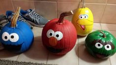 Sesame street painted pumpkins! I printed out templates and traced