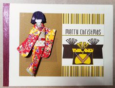 Handmade Christmas card, 3 layers, with hand-folded Japanese paper doll.  Materials: Card stock with border; vector print from GraphicStock; kimono and obi (yuzen washi); décor on hair and obi (nail art).   Size: 14 cm x 10.5 cm