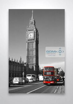 Black and White Big Ben with Red London Buses Wall Art Print. Big Ben in Black and White. Available in sizes from 12″ x 8″ to 30″ x 20″ (larger by arrangement). Your wall art print can be finished as a canvas, metal, wooden block or acrylic block prints.