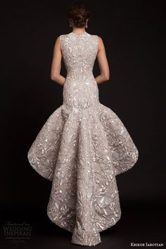 krikor jabotian bridal spring 2015 sleeveless high to low drop waist wedding dress back view