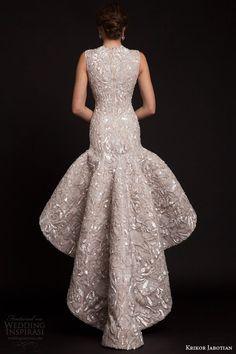 krikor jabotian bridal spring 2015 sleeveless high to low drop waist wedding dress back view