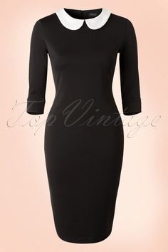 This 50s Vivian Pencil Dress is sooo classy!  This beauty takes you on a trip down memory lane; stunning classic pencil style and a cute contrasting white Peter Pan collar. Made from a stretchy shiny black fabric which hugs your curves in all the right ways.The possibilities are endless for dressing this beauty up or down to fit the occasion!   3/4 sleeves Hidden zipper at the back Hits the knee with a height of 1.70m / 5'7''