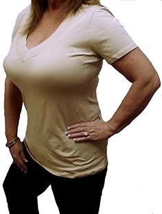 Sexy Khaki Low-cut Womens Plus Size Henley V-neck Plunge Basic Shirt Top 1x2x3x ** Click image to review more details.