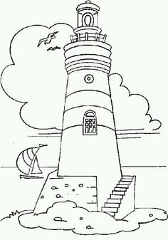 Drawings of lighthouse. Pictures of lighthouse in the sea for coloring. Coloring Pages To Print, Coloring Book Pages, Colouring Sheets, Embroidery Patterns, Hand Embroidery, Staircase Pictures, Lighthouse Painting, Lighthouse Sketch, Stained Glass Patterns