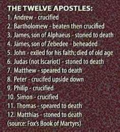 12 Apostles Obits