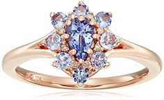 10k Pink Gold Pear Shape Tanzanite and Diamond Accent Flower Ring Size 7 -- To view further for this item, visit the image link.Note:It is affiliate link to Amazon. #harrystyles