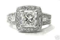 Princess and round diamond engagement ring 18k 186ctw by KNRINC